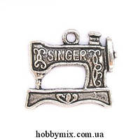 """Метал. подвеска """"швейная машинка singer"""" серебро (2х1,8 см) 5 шт в уп."""