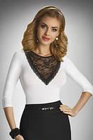 Женская блуза-боди цвета экри с гипюром. Модель Bea Eldar