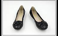 Симпатичные кожаные туфли с бантом с 35 по 43 р.