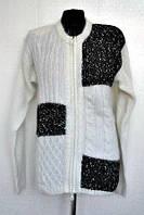 Нарядная женская кофта на молнии в черно белом цвете
