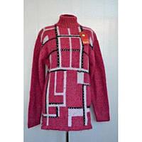 Теплый шерстяной женский свитер  с горловиной