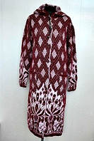 Теплое вязанное женское пальто большого размера с капюшоном