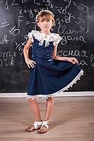 Красивое школьное платье для девочки 110 Черное и Синее