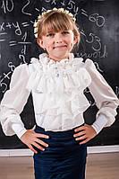 Детская блузка с шифоновыми рукавами и жабо 207