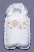 """Конверт зимний на выписку для новорожденного """"Снежинки"""""""