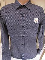 Детская рубашка темно синяя крапилька ст