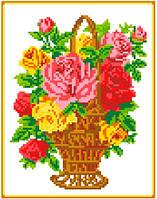 """Схема для вышивки крестом """"Корзина с розами"""""""