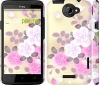 """Чехол на HTC One X+ Японские цветы """"2240c-69"""""""