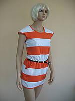 Женское короткое летнее платье в оранжево-белую полоску