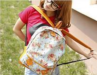 Молодежный рюкзак в цветочках голубой цвет 02