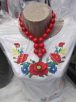 Женская трикотажная вышиванка длиный вышитый рукав