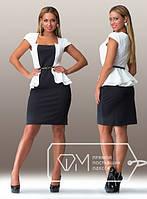"""Черно-белое стильное платье большого размера """"Баска"""""""