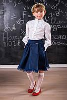 Модная школьная юбка для девочки 510 Синяя и Черная