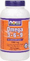 Омега кислоты, Now Foods, Omega 3-6-9, 1000mg, 250 sgel