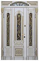 Белая входная дверь патина ковка стекло Термопласт™ Модель 20