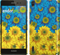 "Чехол на Huawei Ascend P7 Жёлто-голубые цветы ""1048c-49"""