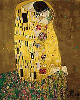 Картина-раскраска Menglei Поцелуй в золотой ауре худ. Климт, Густав (KH1109) 40 х 50 см