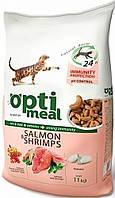 Сухой корм для взрослых котов  - с лососем и креветками  Optimeal 11 кг