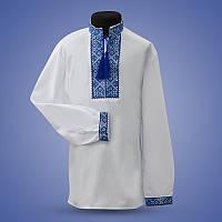 Вышитая сорочка для мальчика c голубым орнаментом