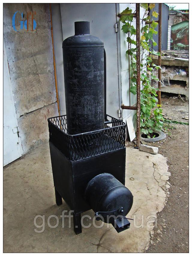 Печь для бани с баком для воды из газового баллона