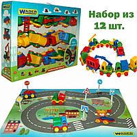 """Игровой набор - детские машинки Wader 12 шт. серии """"Kid Cars""""  в коробке с картой-дорогой"""
