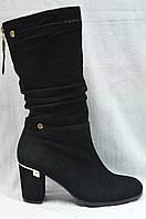 Черные замшевые  сапожки с широким голенищем Malrostti