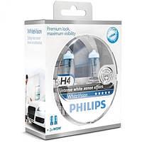 """Автомобильные галогеновые лампы """"PHILIPS""""(H4)(White Vision)(4300K)(+60%)(12V)(60/55W)"""