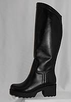 Черные женские стильные зимние кожаные сапоги на среднем каблуке
