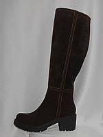 Коричневые женские модельные замшевые зимние сапоги на низком каблуке