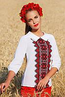 Вышиванка Марта красный узор с длинным рукавом