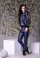 Теплый женский костюм плащевка с леопардом  42-46 рр