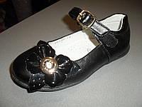 Туфли для девочки черные с цветком