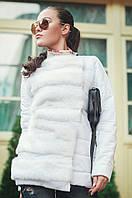 Шикарная женская куртка осенняя средней длины с запахом меховой вставкой рукав длинный