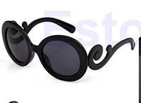 Хит продаж! Модные женские солнцезащитные очки Леди Гага, очки в ретро-стиле, цвет - черный, круглая форма