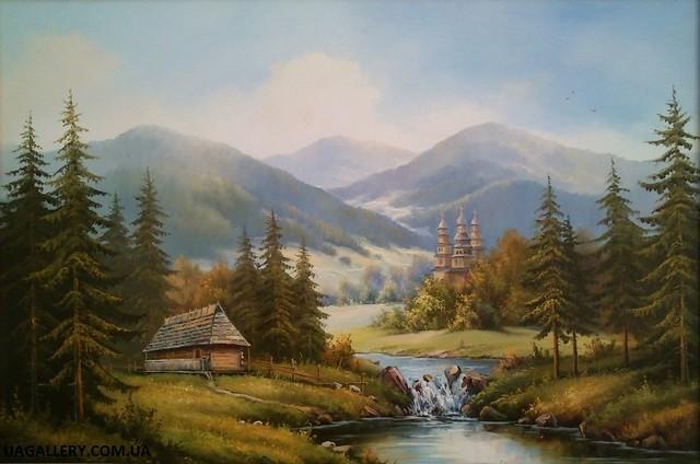 Картины маслом пейзажи «Утро в горах ...: uagallery.prom.ua/p11440434-kartiny-maslom-pejzazhi.html