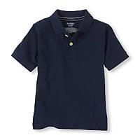 Детская школьная синяя футболка поло для мальчика, на рост 104-118 см.(арт.3721)