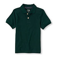 Детская школьная зеленая футболка поло для мальчика, на рост 118-133 см.(арт.3722)