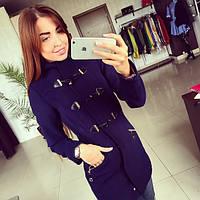 Пальто женское Дафел Кот синее , осеннее пальто