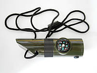 Мультисвисток, армейский мини набор 6-в-1 (свисток, компас, лупа, фонарик и др.)