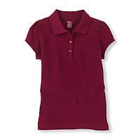 Детская школьная бордовая футболка поло для девочки, на рост 104-118 см. (арт.3738)