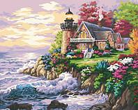 Раскраска по цифрам Маленький маяк у дома худ Кинкейд, Томас (KH115) 40 х 50 см