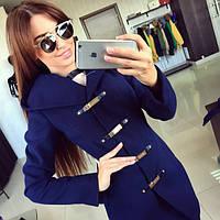 Пальто женское 01 синее , демисезонное пальто