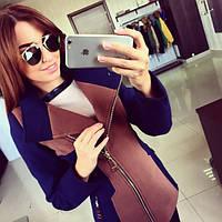 Пальто женское Лючия сине-коричневое , купить пальто