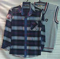 Жилет трикотажный и рубашка для мальчика 10-11 лет