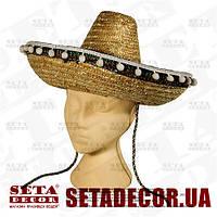 Шляпа бежевое сомбреро d=40 см натуральная соломка  . Продажа и прокат.