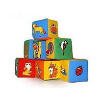 """Кубики мягкие """"Животные"""" 6 штук, Розумна Іграшка"""