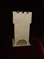 Деревянная коробка для чая (заготовка) под декупаж Башня с конфетницей (11,5 х 11,5 х 23 см)