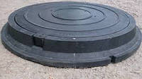 Люк канализационный полимерпесчаный 1т(черный)