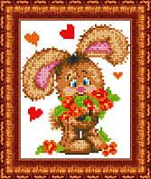 Схема для вышивки бисером Зайчонок с цветами