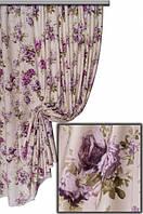Ткань в стиле прованс, рисунок крупные цветы, сиреневый цветок на молочном фоне